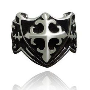 NEW Vintage Style Antique Silver Steel Cross Ring